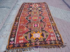 VINTAGE Turkish Kilim Rug Carpet Handwoven Kilim by misterpillow, $675.00