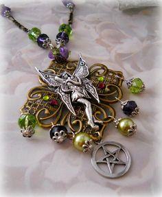 Fairys In My Garden  pentacle neclace by MoonwiseCreationz on Etsy, $29.99