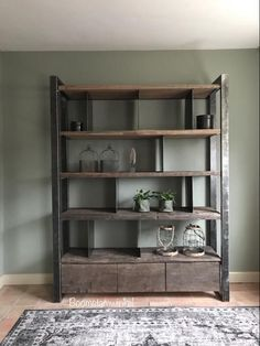 ≥ Industrial cupboard made of wood and steel industrial cupboard cupboards - Cabinets Home Decor Inspiration, Small Living Room Decor, Living Room Decor, Built In Furniture, Rustic Home Design, Rustic Living Room, Modern Grey Living Room, Metal Furniture, Industrial Style Decor