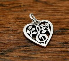RETIRED: James Avery Music Note Heart Charm Sterling Silver C783 | eBay