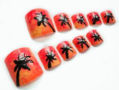 Miami Sunset Fake Nails for Toes Palm Tree Toenails by niceclaws, $12.90