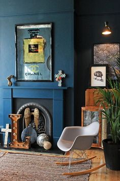 [CasaGiardino] ♛ My Living Room: Front Room by Rockett St George My Living Room, Living Room Decor, Blue Home Offices, Rockett St George, Dark Interiors, Blue Rooms, Blue Bedroom, Couch, Home Interior