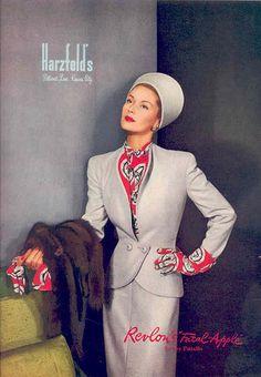~Harzfeld's - suit fashion style color photo print ad ladies women grey red blouse gloves hat model magazine 1940s Fashion Women, Retro Fashion, 1940s Costume, 1940s Woman, Look Retro, Vintage Mode, Vintage Style, Vintage Fashion Photography, Vintage Couture