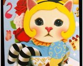 Carte postale chat jolie impression matte série Wonderland \