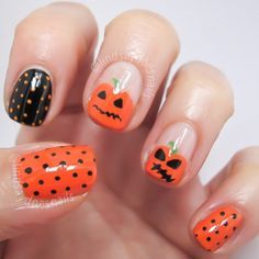 Halloween Inspired Pumpkin Nail Art