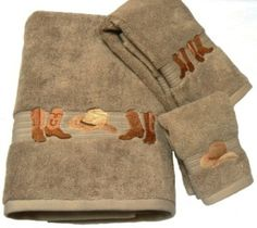 "Boots & Hats"" Western Towel Set - Linen The finest in western towels. Embroidered set featuring cowboy boots and hats. - Egyptian Cotton Please allow weeks for shipping as these are made to order Includes: Bath Towel: x Hand Towel: x Wash Cloth: x 12 Western Bathroom Decor, Western Bathrooms, Western Decor, Mason Jar Bathroom, Bathroom Ideas, Bathroom Stuff, Embroidered Towels, Crafts To Make And Sell, Bath Towel Sets"