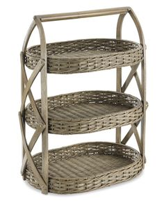 Double-Weave Rattan 3-Tiered Stand