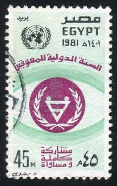 EGYPT - CIRCA stamp printed by Egypt, shows Emblem, globe, sign, circa 1981 Stock Photo Arabic Alphabet, Love Post, Stamp Printing, Scrapbook Kit, Luxor Egypt, Cairo, Postage Stamps, Egyptian, Postcards