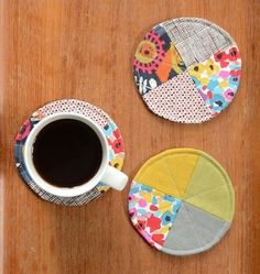 Quilted Circles -  whip up these simple coasters in under an hour, using fabric scraps and a sewing machine.