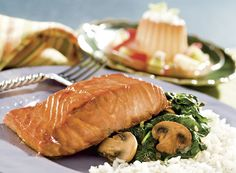 Salmon Over Spinach With Rice and Flan Tropical Recipe from #PublixAprons