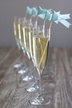 Fete Fancies: Breakfast at Tiffany's Themed Festivities ] Champagne with Tiffany Blue Flags
