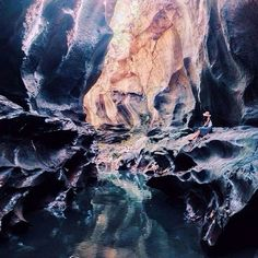 Beji Guwang Hidden canyon is a river with a stone wall that is formed and patterned very wonderful because eroded by river water for hundreds of thousands years to create a masterpiece that makes everyone amazed.