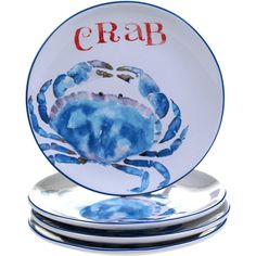 Certified International Beach House Kitchen Set of 4 Crab Dessert... ($90) ❤ liked on Polyvore featuring home, kitchen & dining, dinnerware, set of 4 plates, certified international dinnerware, certified international plates, set of 4 dessert plates and ceramic dinnerware