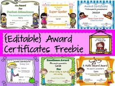 Reward your students with this pack of 8 editable award certificates featuring cute clip art, meaningful messages and attractive backgrounds. All awards are editable. You can change the award titles and award messages. Fonts are embedded.