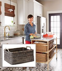 Display-worthy containers stand in for drawers to maximize open storage. Jessica fills her rattan baskets with linens, plasticware and more. Modern Weave Harvest Basket, $39; WestElm.com Interior doors, painted high-gloss black (from $36.99 a gallon; Sherwin-Williams.com), pop against the light-colored trim. Add a jolt of orange with the Small Rectangle Lacquer Tray ($39; WestElm.com). Jessica used her own brass hardware (from $40; Shop.NestEagleRock.com) to add an elegant touch to the…