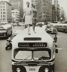 """Lamppost, """"The Skirt's the Thing,"""" Carmen Dell'Orefice and Betsy Pickering, First Avenue and 23rd Street, Harper's Bazaar, 1958 by William Helburn"""