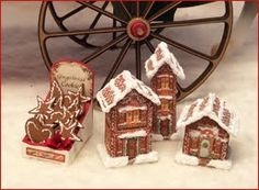 """1"""" Scale Gingerbread Houses & Ornies – set of 3 houses and box of gingerbread ornaments – coordinates with our Merry Peddler Wagon"""