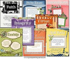 Free printable LDS Young Women values centerpieces Young Women Activities, Youth Activities, Church Activities, Indoor Activities, Summer Activities, Yw Handouts, Young Women Values, Lds Church, Church Ideas