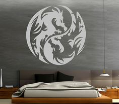A well-rendered bedroom with a dragon insignia. I am unsure as to how the insignia was inserted, but I am relieved to see the bed has texture. downside is the lack of interesting-ness; too symetrical.