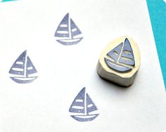 Sailing+boat++Special+Summer+hand+carved+rubber+by+MemiTheRainbow,+$10.00