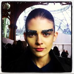 Chanel is making eyebrow art a thing... finally! My bushy eyebrows are fashionable! Now I just need a little glitter in there...
