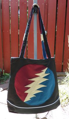 4e60dbf76ea Large Grateful Dead Upcycled Lined Tote Shoulder Book Bag Purse with  Pockets Handmade Patches Bear Stealie