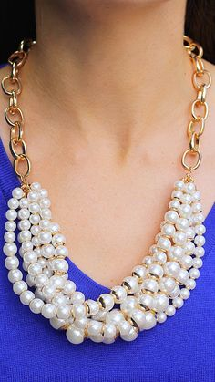Chunky Faux Pearl Necklace - Pearl + Gold