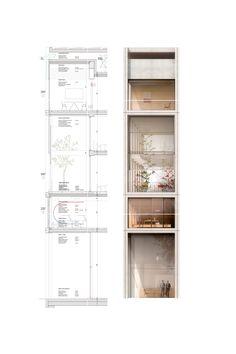 Section Drawing Architecture, Architecture Building Design, Concrete Architecture, Architecture Graphics, Architecture Visualization, Facade Design, Sustainable Architecture, Architecture Details, Architecture Portofolio