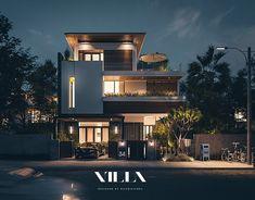 Modern Small House Design, Modern Villa Design, Modern Exterior House Designs, Dream House Exterior, 3 Storey House Design, Duplex House Design, Modern House Facades, Modern Bungalow House, House Outside Design