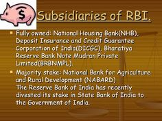 FREE Study materials For Competitive Exams: Subsidiaries of RBI for Bank Exams