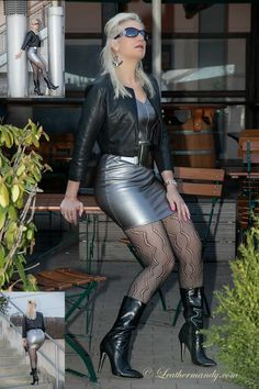 Leather Mini Skirts, Leather Skirt, Black Boots Outfit, Curvy Women Fashion, Womens Fashion, Metallic Mini Dresses, Skirts With Boots, Stockings Legs, Dance Outfits
