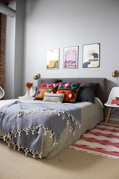 chair side tables, and love the pillows to brighten up a neutral bed.