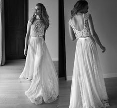 Discount 2016 Lihi Hod Wedding Dresses Two Piece Sweetheart Sleeveless Low Back Pearls Beading Sequins Lace Chiffon Beach Boho Bohemian Wedding Gowns 2015 Wedding Dresses A Line Vintage Wedding Dresses From Toprated, $125.84| Dhgate.Com