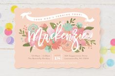 Blooming Peonies Children's Birthday Party Invitations by Jennifer Wick at minted.com