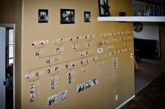 Melissa Palfreyman created a family tree on her wall using blocks of wood with names, dates and photos for every family member.