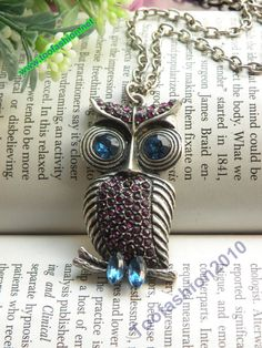 Pretty retro silver crystals owl on branch with blue eyes necklace pendant jewelry vintage style