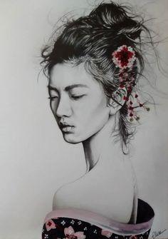 Dessin portrait d'une jeune femme asiatique en geisha
