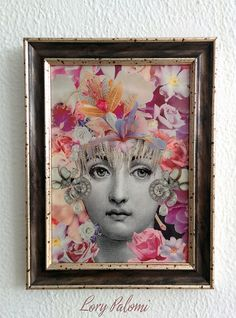 Original artwork made using the decoupage technique with reproduced stock images from XIX century engravings and paper cutouts from magazines.  This artwork portraits a beautiful Lina Cavalieri, Fornasettis muse, surrounded by flowers and jewels. Magenta and white orchids in the background, tea roses in purple and pink and wild roses with the yellow centre define the color scheme of the composition. Crowned by a fringe of diamonds and a blue iris, Lina sports two magnificent earrings of…