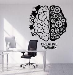 Vinyl Wall Decal Brain Teamwork Gear Creative Office Decor Stickers (1317ig)