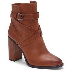 Vince Camuto Gravell- Crisscross Strap Heel Bootie ($179) ❤ liked on Polyvore featuring shoes, boots, ankle booties, russet burnished antique, vince camuto bootie, antique boots, ankle boots, vince camuto booties and bootie boots