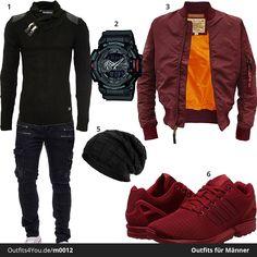 Cooler Herren-Outfit in Schwarz und Dunkelrot mit Alpha Industries Jacke, G-Shock Armbanduhr, Biker-Jeans und Adidas ZX Flux Sneaker.