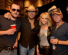Eric Church, Jason Aldean, Miranda Lambert, and Kenny Chesney at the AT&T Stadium for George Strait's final farewell concert.