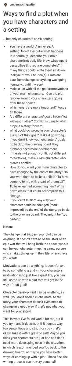 """""""Ways to find a plot when you have characters and a setting"""" Creative Writing Tips, Book Writing Tips, Writing Art, Writing Words, Writing Resources, Writing Help, Writing Skills, Writing Ideas, Writer Tips"""