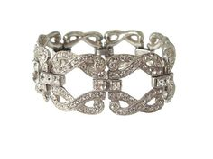 Art Deco Bracelet French Cut Rhinestone Original by GildedElegance