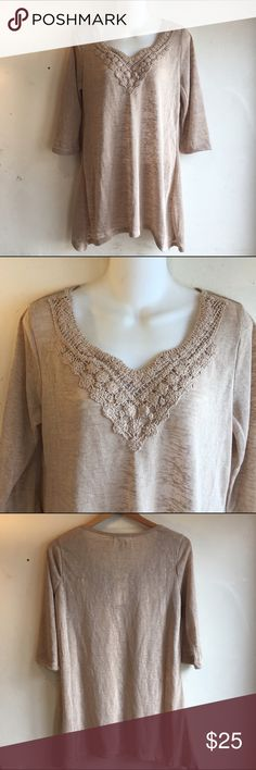 Crochet Detailed Top Nude / beige top by French Laundry NWT and in perfect condition. Neck line features crotchet detailing. Top is slightly see-through. This is a longer fit. #KW027 French Laundry Tops Tunics
