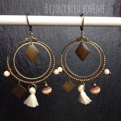 boucles d 39 oreilles bleu roi toile bronze par bijoux bleu boh me bijoux et bronze. Black Bedroom Furniture Sets. Home Design Ideas