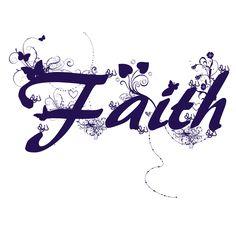 Faith, word art for shop design.