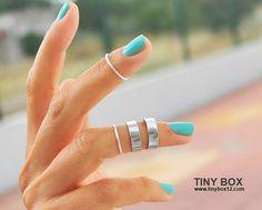 Anneau de Midi empilable Knuckle argent bague bague par TinyBox12, $14.95