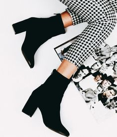 Black boots with cute black and white checked pants