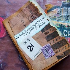 """Nabokov inspired notebook for sale. """"Curiosity is insubordination in its purest form"""". Pocket sized, decorated and distressed with vintage papers. Ready to ship from my etsy shop. It has been given a protective coat too so it's extra hard wearing. #nabokov #moleskine #notebook #journal #curiosity #curious #literary #quote #etsy"""